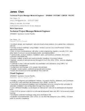 Technical Project Manager/Network Engineer - SPAWAR SYSTEMS CENTER PACIFIC