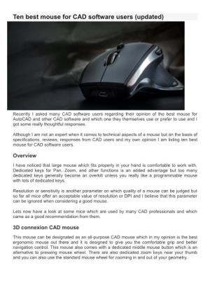 Ten Best Mouse for CAD Software Users (Updated)