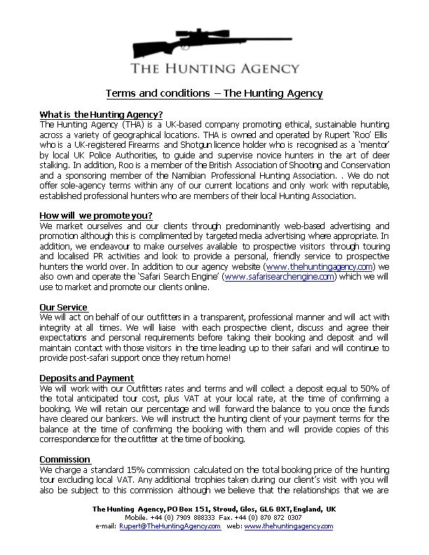 Terms and Conditions the Hunting Agency