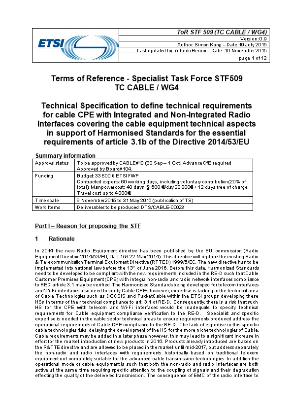 Terms of Reference - Specialist Task Force STF509