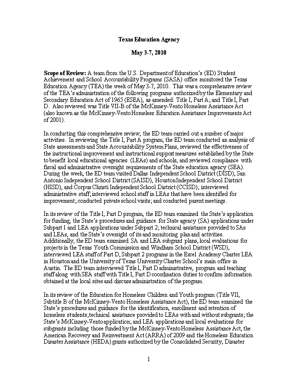 Texas Title I Monitoring Report 09-10 July, 2010 (MS WORD)
