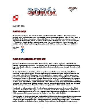 Thank You for Reading the First Installment of 305 Squadron S Newsletter SOKÓŁ . the Purpose
