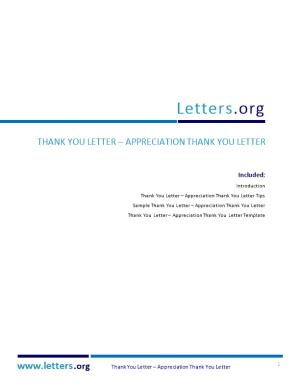 Thank You Letter Appreciation Thank You Letter