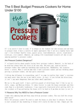 The 5 Best Budget Pressure Cookers for Home Under $100