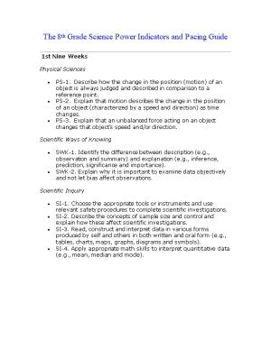 The 8Th Grade Science Power Indicators and Pacing Guide