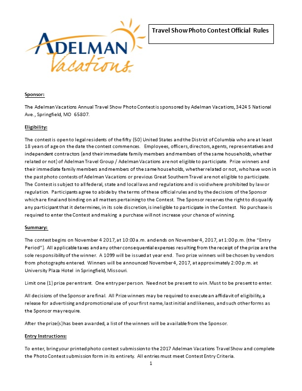 The Adelman Vacations Annual Travel Show Photo Contest Is Sponsored by Adelman Vacations