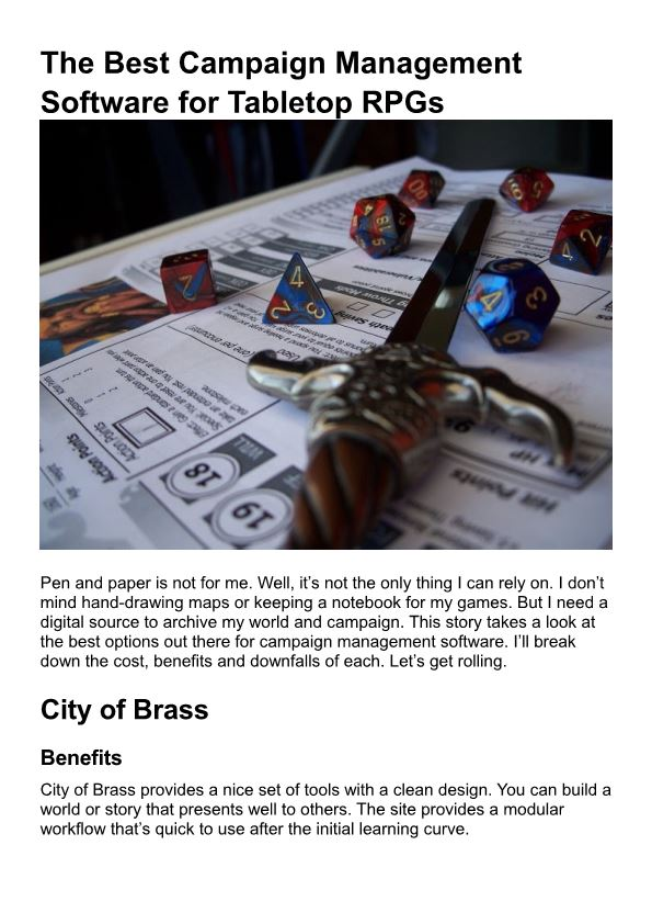 The Best Campaign Management Software for Tabletop Rpgs