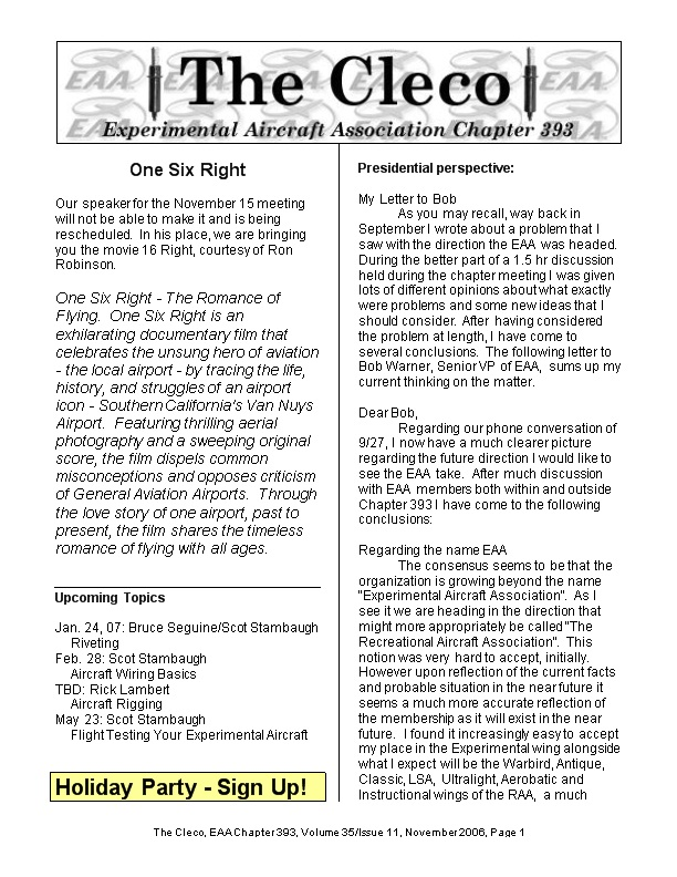 The Cleco, EAA Chapter 393, Volume 35/Issue 11, November 2006, Page 1