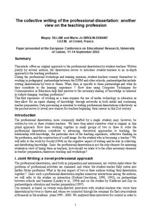 The Collective Writing of the Professional Dissertation : Another View on the Teaching