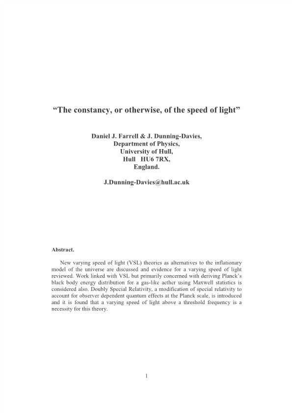 The Constancy, Or Otherwise, of the Speed of Light