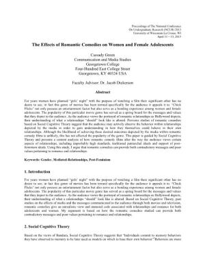 The Effects of Romantic Comedies on Women and Female Adolescents
