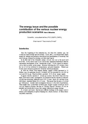 The Energy Issue and the Possible Contribution of the Various Nuclear Energy Production