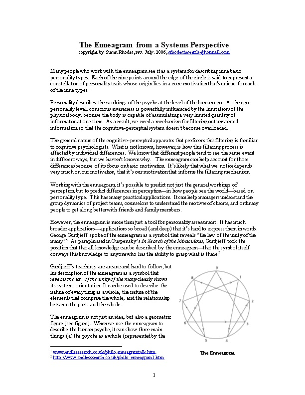 The Enneagram from a Systems Perspective