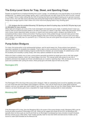 The Entry-Level Guns for Trap, Skeet, and Sporting Clays