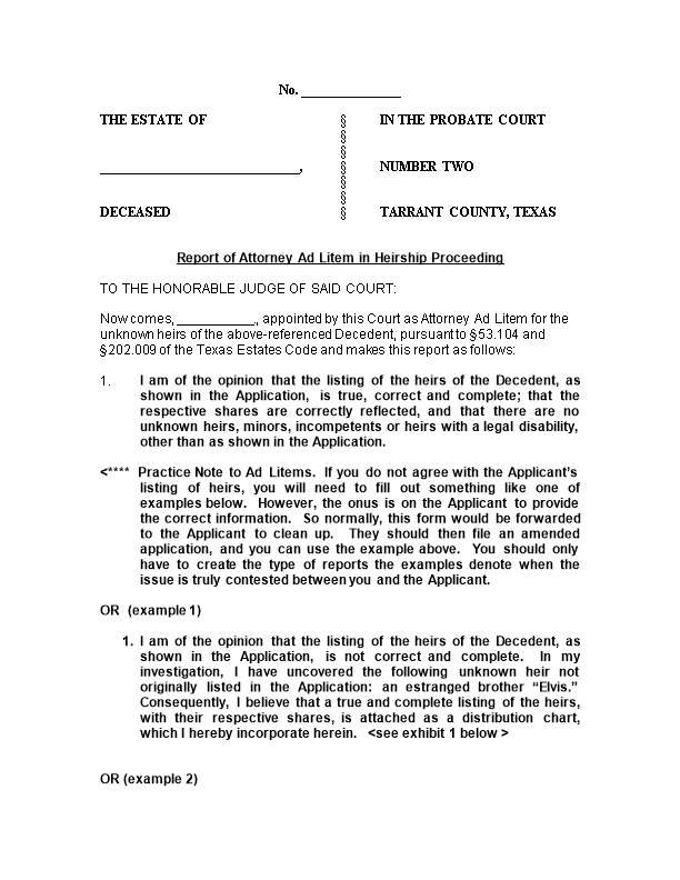 The Estate of in the Probate Court