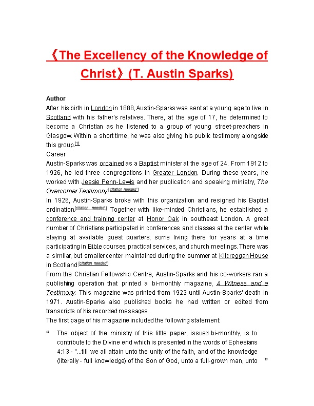 The Excellency of the Knowledge of Christ (T. Austin Sparks)