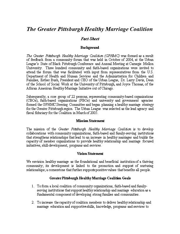 The Greater Pittsburgh Healthy Marriage Coalition