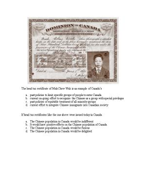 The Head Tax Certificate of Mah Chew Wah Is an Example of Canada S