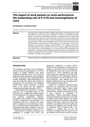 The impact of work passion on work performance: the moderating role of P-O fit and meaningfulness of work