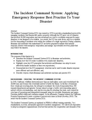 The Incident Command System: Applying Emergency Response Best Practice to Your Disaster
