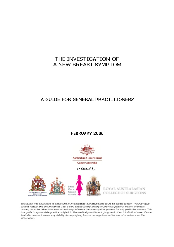 The Investigation of a New Breast Symptom