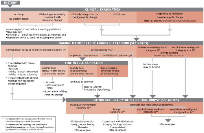 Flowchart describing the investigation method for a new breast symptom other than a nipple discharge This investigation is based on the patient history clinical examination Imaging Mammography and or Ultrasound Fine needle aspiration and Pathology FNA Cytology or Core Biopsy