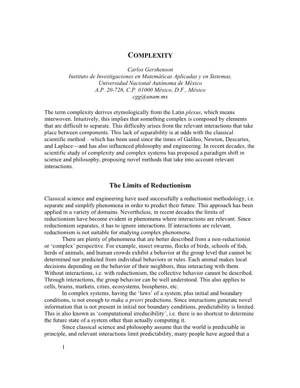 The Limits of Reductionism