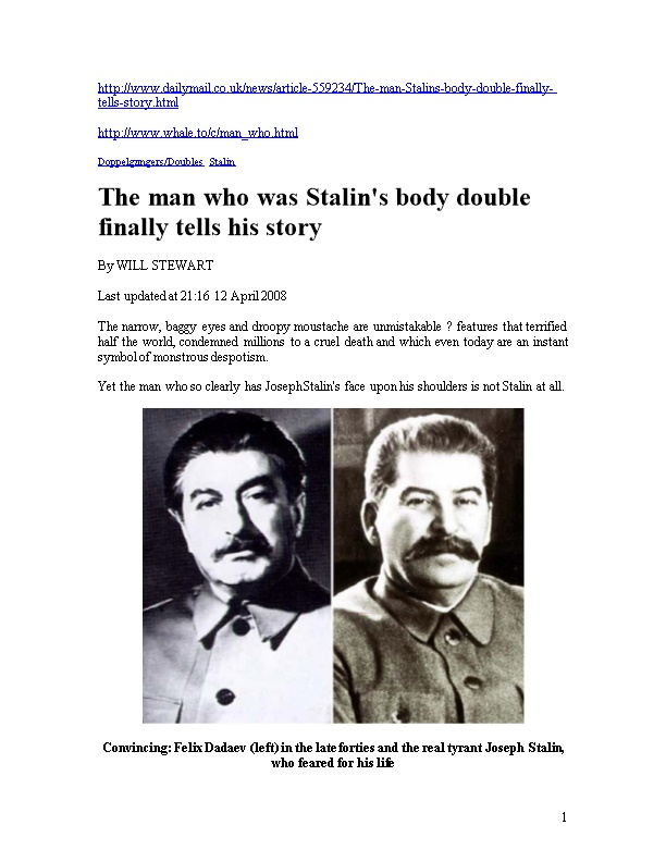 The Man Who Was Stalin's Body Double Finally Tells His Story