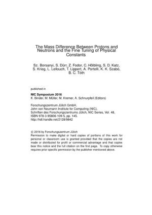 The Mass Difference Between Protons and Neutrons and the Fine Tuning of Physical Constants