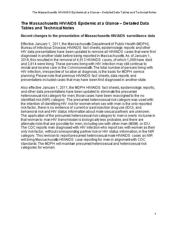 The Massachusetts HIV/AIDS Epidemic at a Glance Detailed Data Tables and Technical Notes
