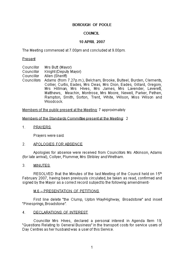 The Meeting Commenced at 7.00Pm and Concluded at 9.00Pm