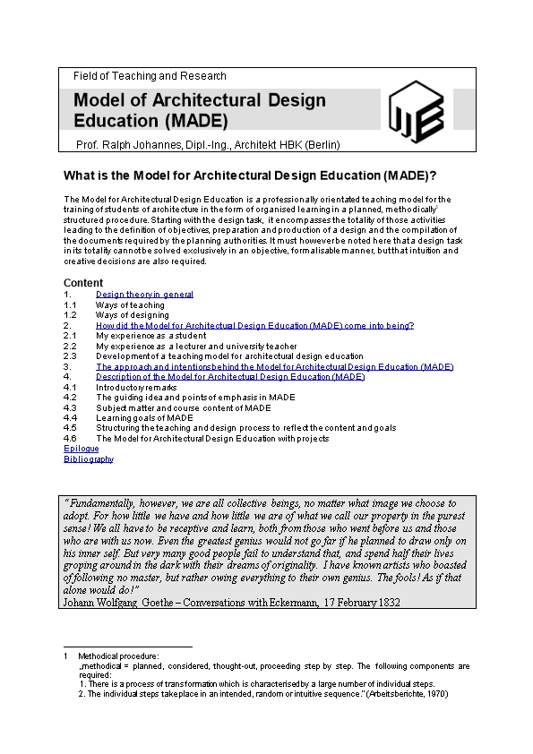 The Model for Architectural Design Education (MADE)