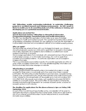 The MRC Provides Support Through a Broad Portfolio of Personal Award Schemes for Talented