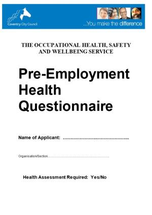 The Occupational Health, Safety and Wellbeing Service