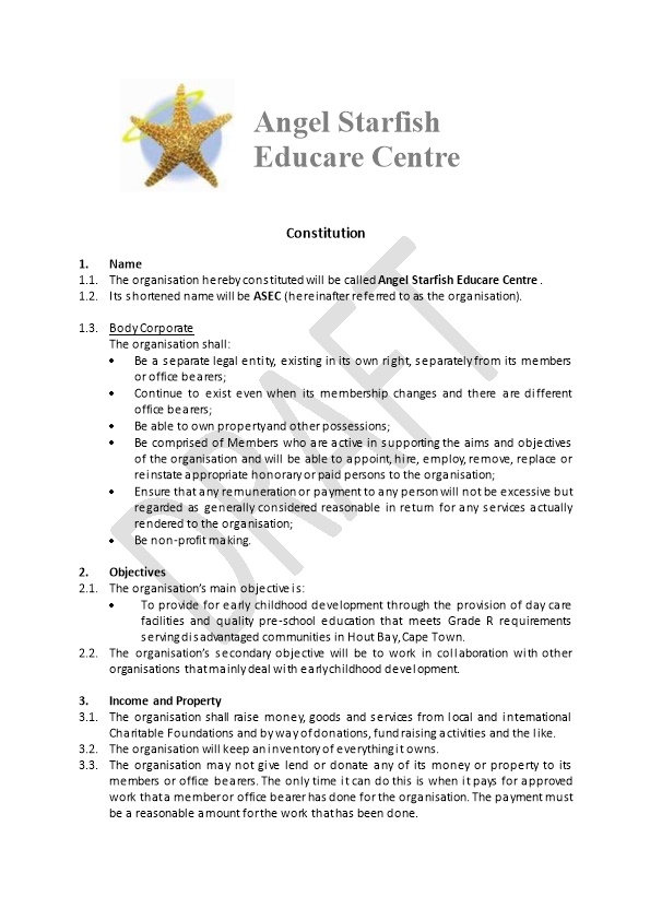 The Organisation Hereby Constituted Will Be Called Angel Starfish Educare Centre