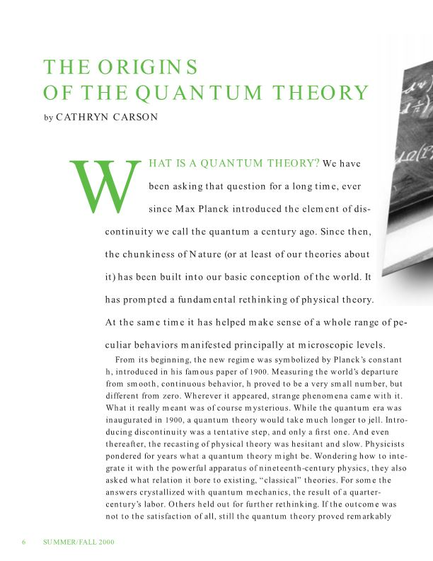 The Origins of the Quantum Theory