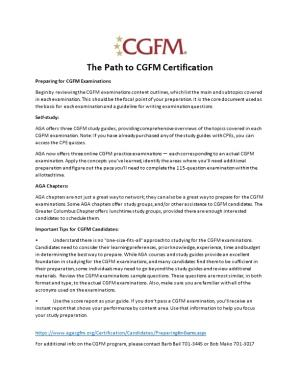 The Path to CGFM Certification