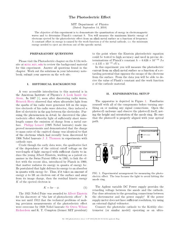 The Photoelectric Effects