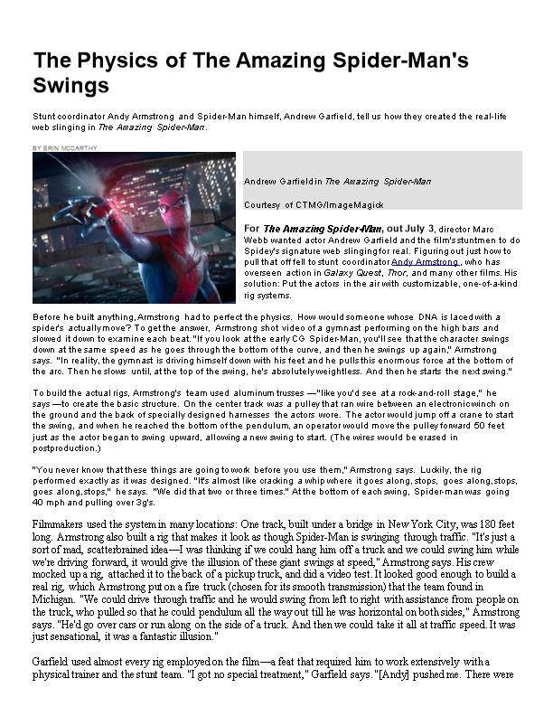 The Physics of the Amazing Spider-Man S Swings