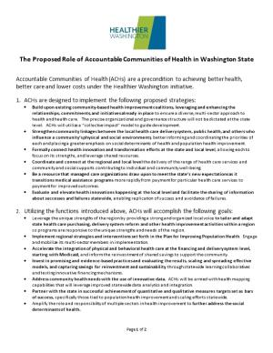 The Proposed Role of Accountable Communities of Health in Washington State