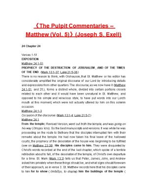The Pulpit Commentaries Matthew (Vol. 5) (Joseph S. Exell)