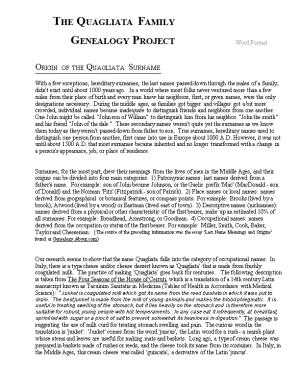 THE QUAGLIATA FAMILY GENEALOGY PROJECT Word Format ORIGIN of the QUAGLIATA SURNAME With