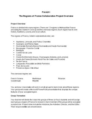 The Regions of France Collaborative Project Overview