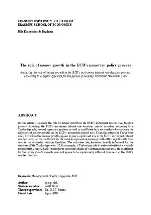 The Role of Money Growth in the ECB S Monetary Policy Process