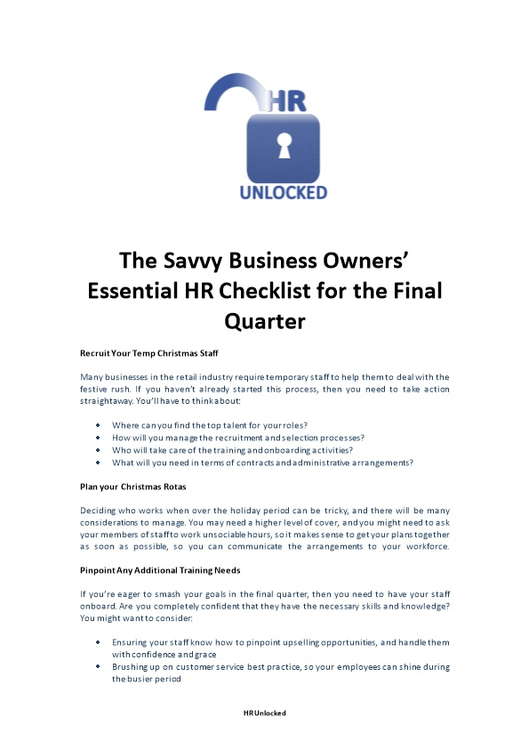 The Savvy Business Owners Essential HR Checklist for the Final Quarter