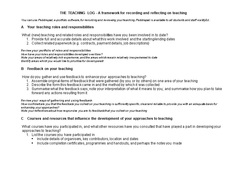 THE TEACHING LOG - a Framework for Recording and Reflecting on Teaching