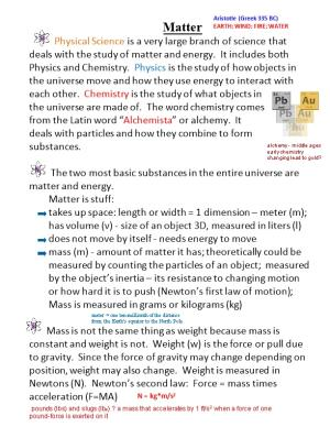 The Two Most Basic Substances in the Entire Universe Are Matter and Energy