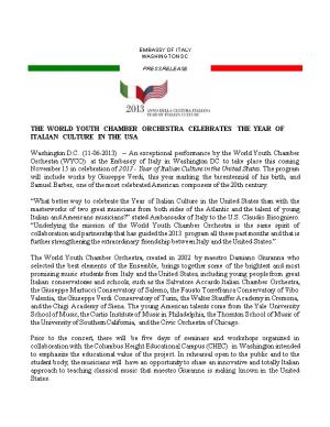 The World Youth Chamber Orchestra Celebrates the Year of Italian Culture in the Usa