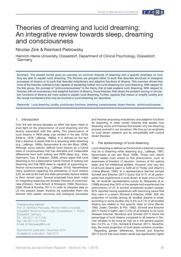 Theories of Dreaming and Lucid Dreaming: an Integrative Review Towards Sleep, Dreaming and Consciousness