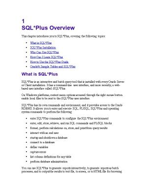 This Chapter Introduces You to SQL*Plus, Covering the Following Topics